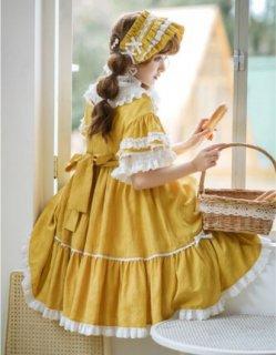 NyaNya ロリータ ワンピース ドレス7色 カラバリ豊富 ミディアム フレア ショート丈 フリル ふんわり ドール フレア袖 半袖 大きいサイズ サイズ豊富 人気 ハロウィン 無地 リボン