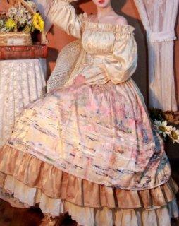 ロリータ ドレス ワンピース ロング クラロリ マキシ フレア フリル オフショルダー パフスリーブ バルーンスリーブ ロココ調 プリント ふんわり エレガント 華やか 小さいサイズ パーティ ハロウ