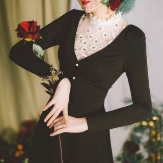 セミロリータ ワンピース ドレス 切り替え 秋冬 チュール ハイネック 透け感 花柄 お花 モチーフ フラワー かわいい エレガント セクシー フェミニン ロング Aライン きれいめ パーティ お呼ば