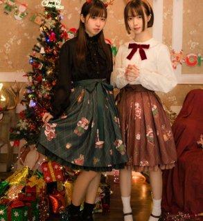 ロリータ スカート 2色 グリーン ブラウン カジュアル 甘ロリ かわいい ミディアム 秋冬 クリスマス テディベア サンタ 雪だるま パーティ デート イベント お呼ばれ 上品 かわいい フレア