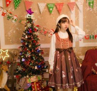 ロリータ ジャンパースカート ジャンスカ JSK カジュアル クリスマス 秋冬 ミディアム プリーツ フレア かわいい サンタ トナカイ ソリ テディベア くま かわいい キュート 大きいサイズ サイ