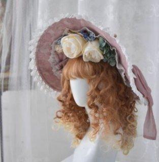 ロリータ ボンネット 3色 帽子 ハット レース お花 モチーフ フラワー クラシカル 姫ロリ ロココ調 リボン かわいい エレガント 貴婦人 お姫様 お嬢様 上品 ヘッドドレス 小物 雑貨