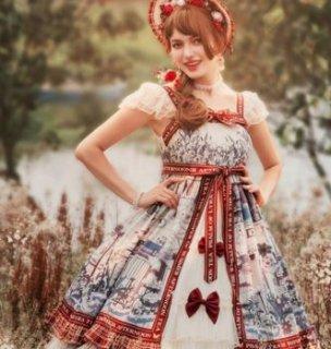 ロリータ ガーデン ジャンパースカート プリント 秋冬 かわいい レイヤード ドレス 重ね着用 ミディアム ひざ丈 ふんわり フレア Aライン リボン フリル 甘ロリ クラロリ 姫ロリ 上品