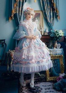 ロリータ クルーネック 姫袖 ロココ ワンピース ミディアム アンダースカート取り外し可能 かわいい 華やか エレガント クラロリ クラシカル 姫ロリ フリル ハイウエスト ハイネック 長袖 リボン