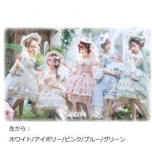 ロリータ クラシカル 姫袖 ドレス+帽子 セット 5色 ワンピース ワンピ ミディアム フレア レース 刺しゅう かわいい リボン フラワーモチーフ 通年 七分袖 かわいい ふんわり パーティ