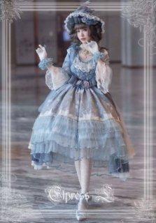 ロリータ アシンメトリー シフォン ドレス 通年 ホワイト ブルー フレア ミディアム 七分袖 ふんわり ロココ調 レース お花 モチーフ フラワー クラシカル クラロリ 甘ロリ 姫ロリ 大きいサイズ