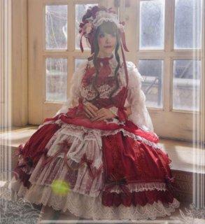 ロリータ ドットレース ジャンスカ+ヘッドドレス セット 5色 通年 ドレス エレガント クラシカル クラロリ 姫ロリ ミディアム フレア リボン フリル レース ふんわり ゴージャス