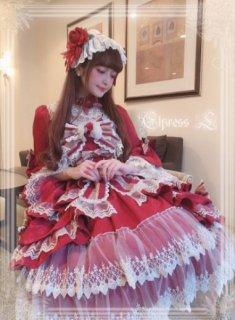 ロリータ ドレス+ヘッドドレス セット 通年 青木美沙子さんコラボ ワイン クラシカル クラロリ 姫ロリ リボン フリル たっぷりフリル フレア ミディアム ふんわり 上品 エレガント ゴスロリ