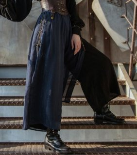 【納期2か月】ロリータ パンツ steampunk スチームパンク ネイビー 無地 ギア チェーン スリット おしゃれ ロング フレア ボトムス 人気 撮影 おでかけ パーティ イベント ゴスロリ ロ