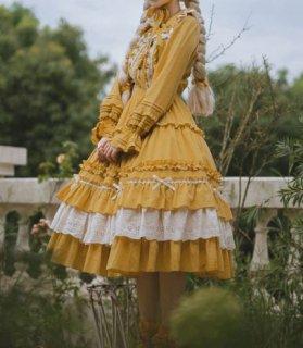 ロリータ スカート 3色 秋冬 NyaNya ミディアム ひざ下丈 フリル たっぷりフリル ガーリー ナチュラル ふんわり フレア かわいい 華やか 大きいサイズ サイズ豊富 甘ロリ おでかけ