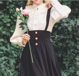 セミロリータ ジャンパースカート サロペットスカート ロング ブラック フレア ボタン かわいい レイヤード 重ね着用 秋冬 シック きれいめ エレガント 大人可愛い おでかけ デート ふんわり 体型