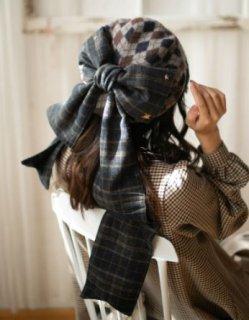 ベレー帽 4色 SweetDreamer 秋冬 ふんわり あったか アーガイル チェック レトロ 甘ロリ リボン かわいい おしゃれ フリーサイズ トレンド ガーリー おでかけ 撮影 イベント