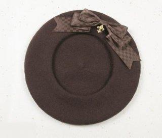 ベレー帽 3色 SweetDreamer 秋冬 ブラウン ふんわり あったか リボン チェック チェーン ビジュー レトロ 甘ロリ リボン かわいい おしゃれ フリーサイズ トレンド ガーリー