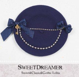 ベレー帽 3色 SweetDreamer 秋冬 ブルー ふんわり あったか リボン チェック チェーン ビジュー レトロ 甘ロリ リボン かわいい おしゃれ フリーサイズ トレンド ガーリー