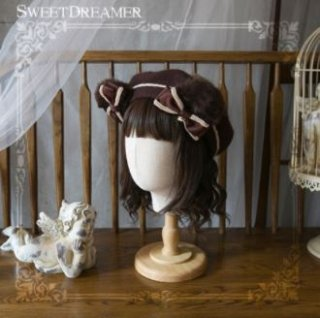 耳付きベレー帽 2色 SweetDreamer 秋冬 甘ロリ ふわふわ かわいい くま くまさん クマ ファー エコファー ライン あったか おでかけ デート 撮影 リボン フリーサイズ ゴスロリ