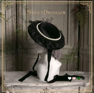 帽子 SweetDreamer ハット リボン レース エレガント クラシカル クラロリ 上品 フェミニン フリーサイズ ヘッドドレス 通年 お呼ばれ きれいめ ブラック パール ビジュー ゴスロリ
