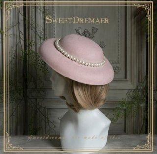 帽子 4色 SweetDreamer ハット リボン エレガント クラシカル クラロリ 上品 フェミニン フリーサイズ ヘッドドレス 通年 お呼ばれ きれいめ ブラック パール ビジュー ゴスロリ