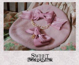 ベレー帽 7色 SweetDreamer リボン チャーム パール ビジュー キラキラ かわいい 甘ロリ きれいめ 上品 フェミニン フリーサイズ ヘッドドレス 帽子 雑貨 小物 ゴスロリ