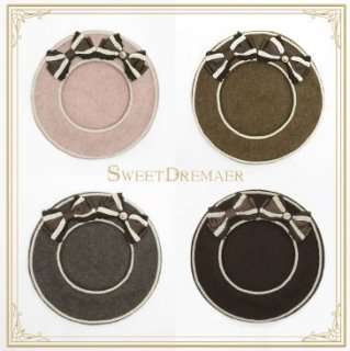 ベレー帽 4色 SweetDreamer リボン チャーム ライン かわいい 甘ロリ きれいめ 上品 フェミニン フリーサイズ ヘッドドレス 帽子 雑貨 小物 ゴスロリ