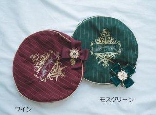 Surfacespell ベレー帽 4色 秋冬 クラシカル クラロリ ストライプ 英国風 学生風 学園風 リボン ビジュー チャーム 帽子 雑貨 小物 ヘッドドレス ヘアアクセサリー フリーサイズ