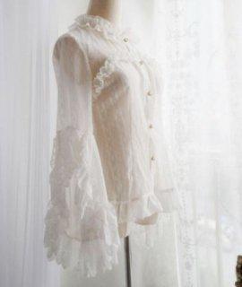 シフォン シースルー 姫袖 ブラウス 2色 秋冬 長袖 クラシカル クラロリ トップス 大きいサイズ サイズ豊富 ふんわり エレガント 上品 甘ロリ フリル かわいい 華やか 撮影