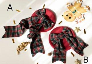 リボンベレー帽 2色 SweetDreamer 秋冬 ふんわり あったか ヘッドドレス 帽子 リボン チェック かわいい カジュアル 甘ロリ フェミニン おでかけ デート 雑貨 小物 レトロ