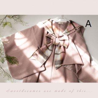 ショートコート3色 SweetDreamer 秋冬 和ロリ 着物 リボン かわいい ふんわり あったか 体型カバー チェック 無地 おしゃれ フリーサイズ ゆったり 羽織り アウター