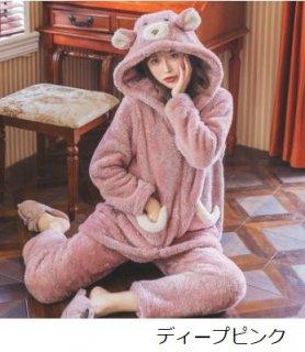 ルームウェアセット 秋冬 もこもこ 耳付き くま クマ くまさん ベア かわいい 甘ロリ キュート カジュアル ふわふわ ふんわり あったか 上下セット セットアップ 2点セット レディース ゴスロリ