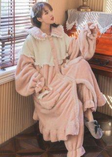 ルームウェア ワンピース 秋冬 ワンピ ロング 2点セット ボトム付き パンツ付き バイカラー ポケット ふんわり ゆったり レース 甘ロリ ガーリー フリーサイズ 長袖 パジャマ 部屋着 かわいい