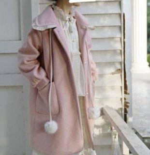 ステンカラーコート 2色 秋冬 アウター 甘ロリ ロリータ フリル ロング ラブリー ピンク ブルー かわいい ゆったり パフスリーブ おしゃれ ラブリー あったか ウール おでかけ デート イベント