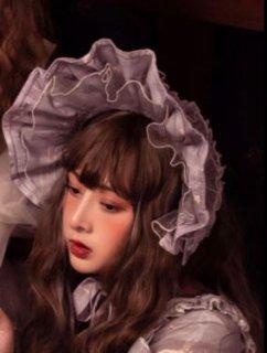 ボンネット 通年 ヘッドドレス 帽子 リボン レース フリル 甘ロリ 姫ロリ かわいい アクセサリー ヘアアクセサリー 雑貨 小物 グレー フリーサイズ パーティ 撮影 おでかけ ゴスロリ ロリータフ