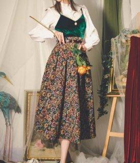 セミロリータ フラワースカート2色 総柄 クラシカル レトロ ロング Aライン フレア おしゃれ かわいい ガーリー 上品 エレガント 大きいサイズ サイズ豊富 おでかけ お呼ばれ デート レディース