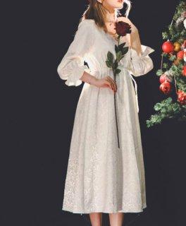 レースワンピース ロング ミディアム Aライン ホワイト Vネック 長袖 パフスリーブ 大きいサイズ サイズ豊富 ドレス お呼ばれ エレガント きれいめ フェミニン おしゃれ かわいい セミロリータ