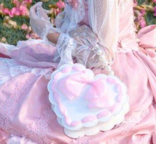 ハートバッグ 通年 リボン フェイクレザー パールハンドル ショルダーバッグ ハンドバッグ トートバッグ かわいい 甘ロリ 姫ロリ ホワイト 清楚 キュート カジュアル ラブリー デート 撮影 ゴスロ