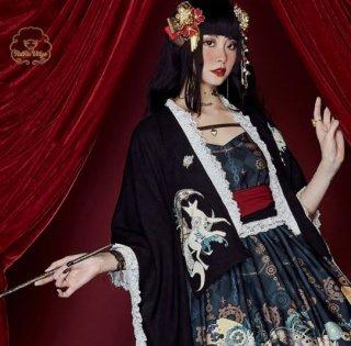 羽織り 和ロリ 和風 ロリィタ Lolita ブラック プリント きつね 和服 着物 カーディガン ミディアム ボリューム ゆったり フリーサイズ ワンサイズ 春秋 通年 おしゃれ アウター ライトア