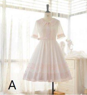 半袖ワンピース 4色 ミディアム Aライン ドレス ふんわり お呼ばれ 上品 大きいサイズ サイズ豊富 シャツワンピース 撮影 おでかけ デート 姫ロリ 甘ロリ ゴスロリ ロリータ