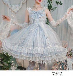 ジャンスカ 5色 JSK 甘ロリ 姫ロリ ミディアム ふんわり フレア 大きいサイズ サイズ豊富 リボン メイド風 メイド お嬢様 パーティ 華やか ドレス おしゃれ レイヤード ゴスロリ ロリータ