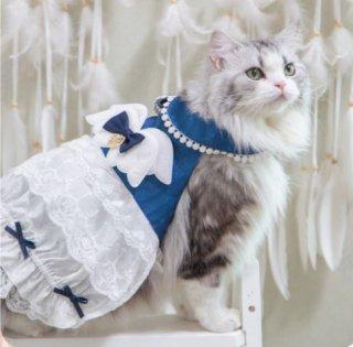 ペット用コスチューム 犬用 猫用 ワンちゃん ネコちゃん かわいい 甘ロリ ワンピース ドレス ワンピ フリル バイカラー リボン メイド風 レース ふんわり おしゃれ イベント おでかけ ゴスロリ
