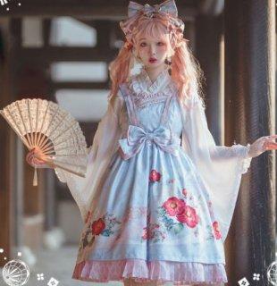 和ロリジャンスカ 2色 NyaNya 通年 春夏 春秋 かわいい 和服 和ロリ ミディアム リボン ワンピース ワンピ ドレス レース おしゃれ 着物 和柄 Aライン ゆったり レイヤード 重ね着