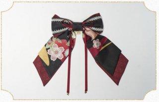 和ロリリボン 2色 NyaNya 花柄 和ロリ 和柄 和服 ヘアアクセサリー ヘッドドレス 小物 雑貨 リボン かわいい レトロ おしゃれ 撮影 イベント おでかけ お呼ばれ ゴスロリ