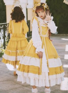 レトロ ローズ刺繍 ジャンパースカート 4色 NyaNya ドレス 春夏 通年 レース クラシカル クラロリ 森ガール おしゃれ Aライン ミディアム ひざ丈 ノースリーブ フリル かわいい