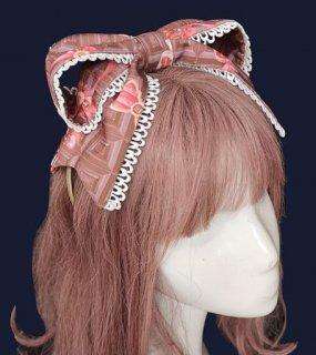リボンカチューシャ 2色 通年 春夏 カジュアル フリル 大きめリボン リボン ヘッドドレス メイド風 かわいい おでかけ イベント 撮影 デート ゴスロリ スイーツ