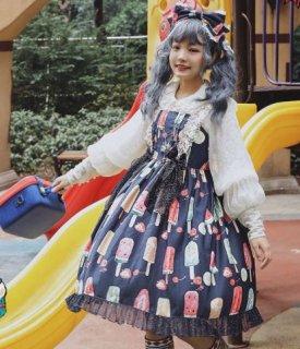 ジャンスカ 5色 通年 春夏 カジュアル ドレス メイド風 メイド かわいい キュート リボン アイスクリーム アイスキャンディー 総柄 プリント フレア ミディアム ひざ丈 大きいサイズ サイズ豊富