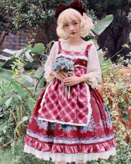 赤ずきんちゃん ジャンスカ 3色 通年 春夏 ドレス クラシカル クラロリ 花柄 フラワー ミディアム丈 ひざ丈 フリル たっぷりフリル レース フレア ふんわり かわいい 上品 姫ロリ