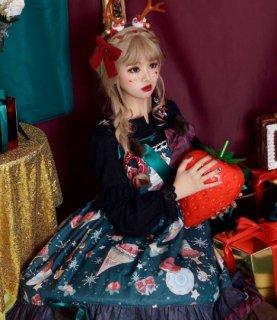 クリスマス ジャンスカ 4色 通年 春夏 ドレス クラシカル クラロリ ケーキ スイーツ 花柄 ミディアム丈 ひざ丈 フリル たっぷりフリル レース フレア ふんわり かわいい 上品 姫ロリ