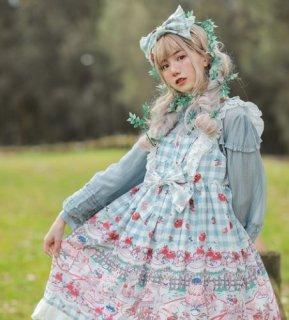 ジャンスカ 4色 通年 春夏 カジュアル メイド メイド風 チェック いちご 姫ロリ エレガント ドレス ふんわり フリル リボン レース 大きいサイズ サイズ豊富 撮影 イベント おでかけ リンゴ