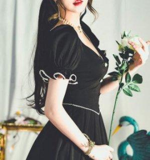 【納期25日】ロングワンピース 春夏 ドレス 半袖 パフスリーブ 姫袖 ボタン ビジュー キラキラ バイカラー ブラック 発表会 お呼ばれ フレア ロング デート おでかけ エレガント セミロリータ