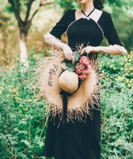 【納期25日】ロングワンピース 春夏 ドレス 半袖 パール 大人 セクシー 姫袖 ボタン ビジュー キラキラ バイカラー ブラック 発表会 お呼ばれ フレア ロング デート おでかけ エレガント セミ