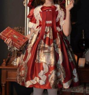 プリントジャンスカ 2色 ワイン ブラック クラシカル クラロリ エレガント 姫ロリ お嬢様 パーティ イベント ハイウエスト キャミワンピ 総柄 ドレス ノースリーブ 大きいサイズ ゴスロリ