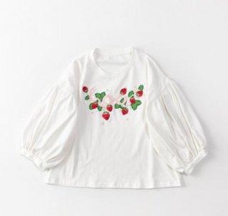 いちご柄Tシャツ SweetDreamer 春夏 半袖 クルーネック ラウンドネック 刺しゅう いちご イチゴ ストロベリー コットン 通気性 かわいい 甘ロリ 森ガール ゴスロリ
